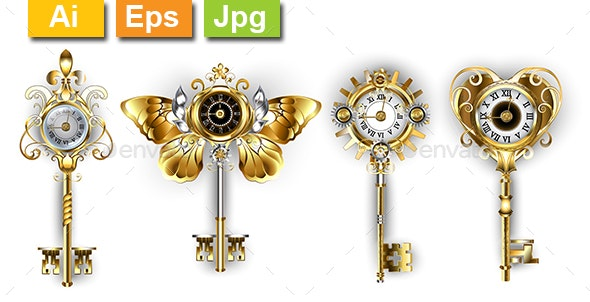 Antique Keys with Dials - Man-made Objects Objects