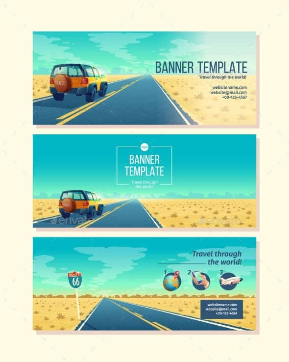 Vector Banner Template with Tourist Concept - Man-made Objects Objects