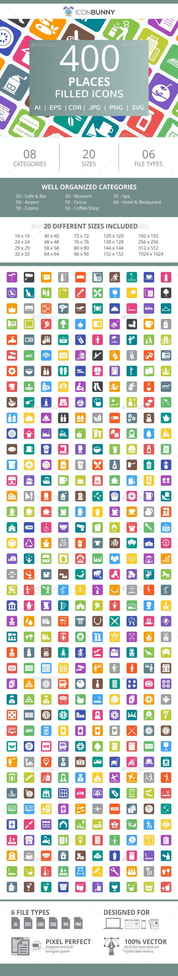 410 Places Filled Round Corner Icons - Icons