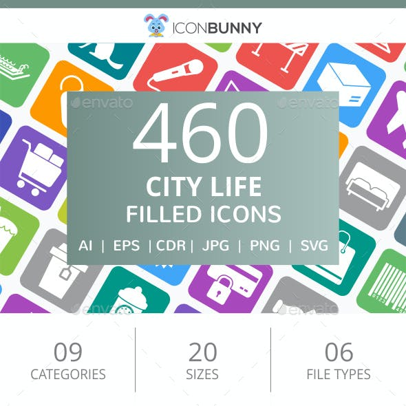 460 City Life Filled Round Corner Icons