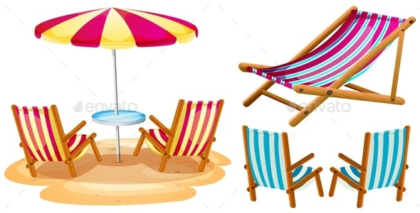 Beach Chairs and Umbrella - Man-made Objects Objects
