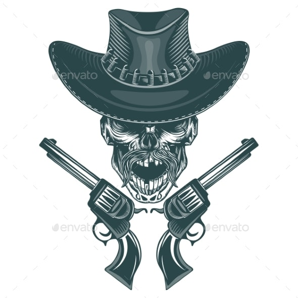 Skull of a Mustached Cowboy with Pistols - Miscellaneous Vectors