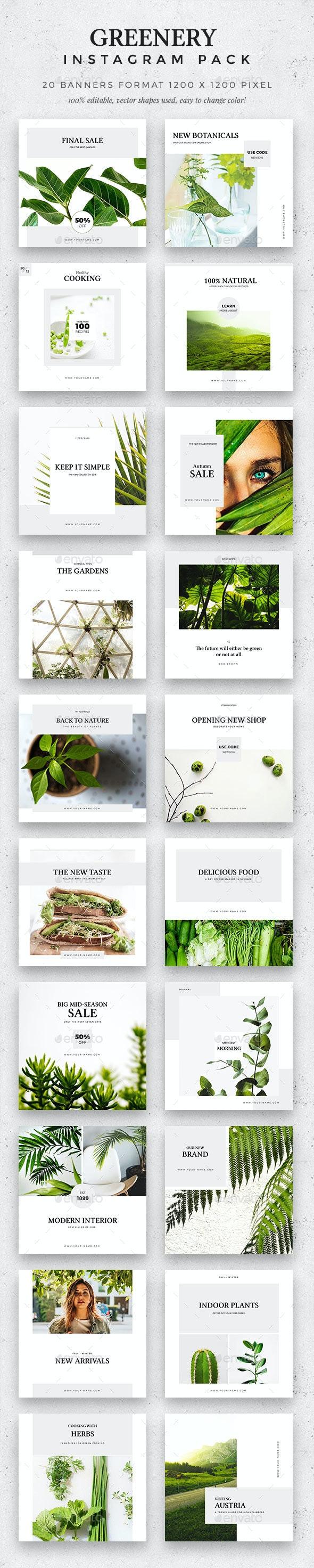 Greenery -  Instagram Pack - Social Media Web Elements