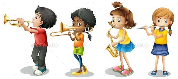 Kids Playing Musical Instruments - People Characters