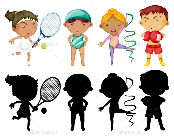 Kids Doing Different Sports Set With Silhouette - People Characters