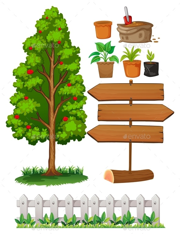 Gardening Items With Tree and Fence - Organic Objects Objects