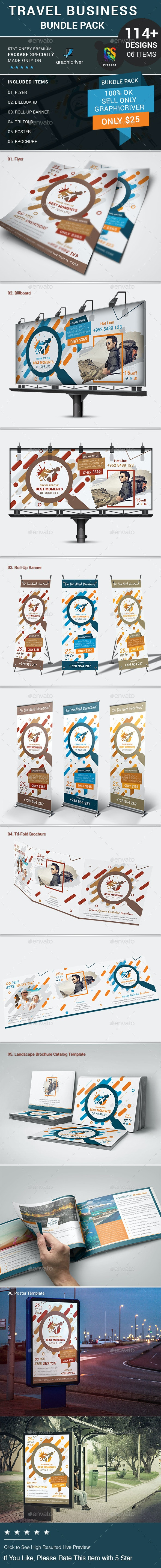 Travel Business Bundle Pack - Stationery Print Templates