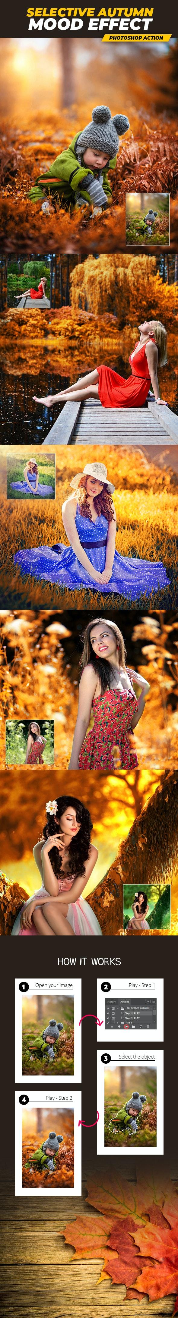 Selective Autumn Mood Effect - Photoshop Action