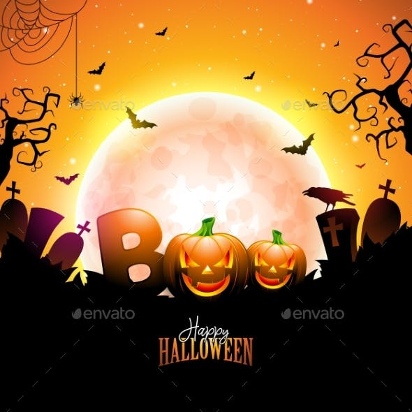 Boo Happy Halloween Design with Typography