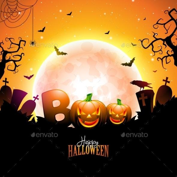 Boo Happy Halloween Design with Typography - Halloween Seasons/Holidays