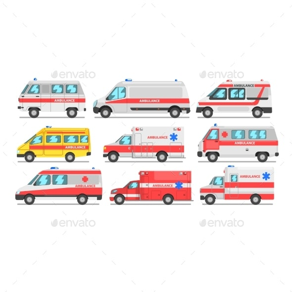 Collection of Ambulance Service Cars - Health/Medicine Conceptual