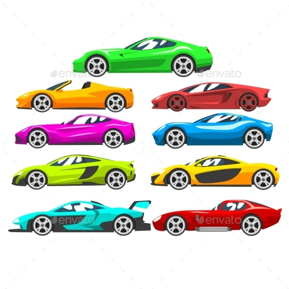 Collection of Sports Racing Cars - Man-made Objects Objects