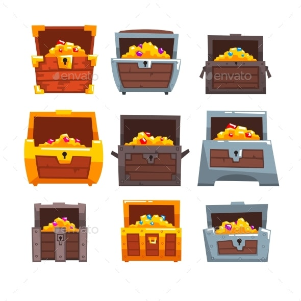 Collection of Wooden Chests with Treasures - Miscellaneous Vectors