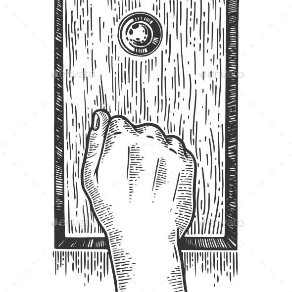 Hand Knock Door Engraving Vector Illustration