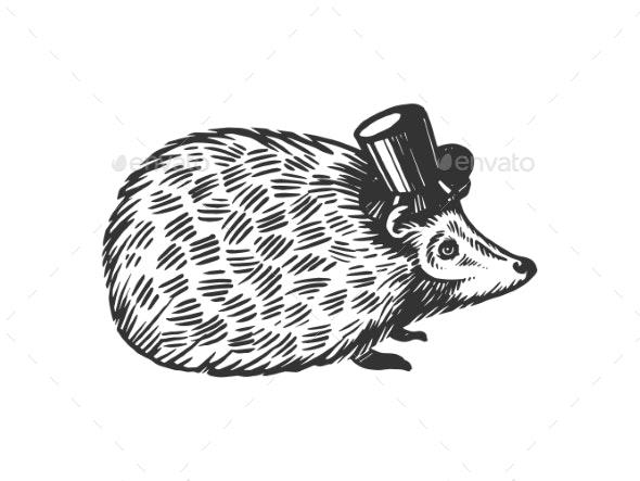 Hedgehog Animal in Cylinder Top Hat Engraving - Miscellaneous Vectors