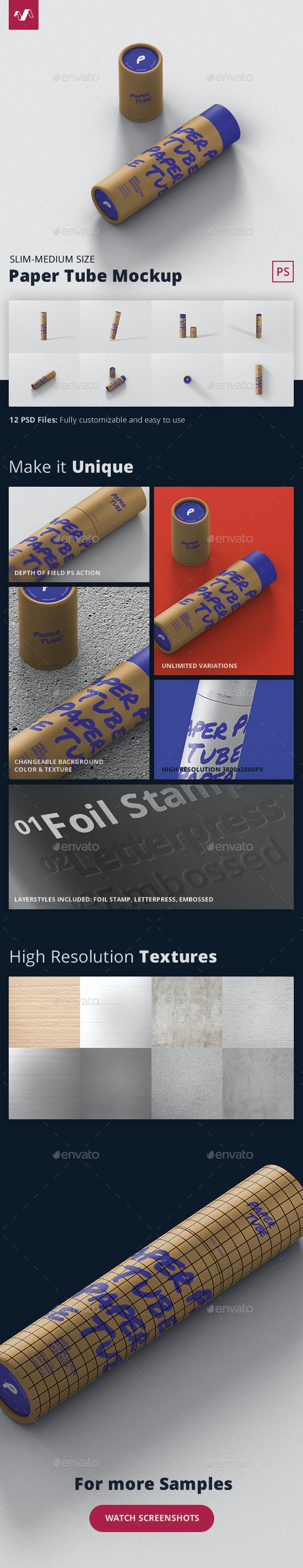 Paper Tube Mockup - Slim Medium Size - Miscellaneous Packaging