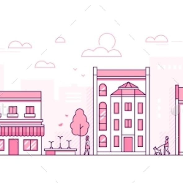 City Street - Modern Thin Line Design Style Vector