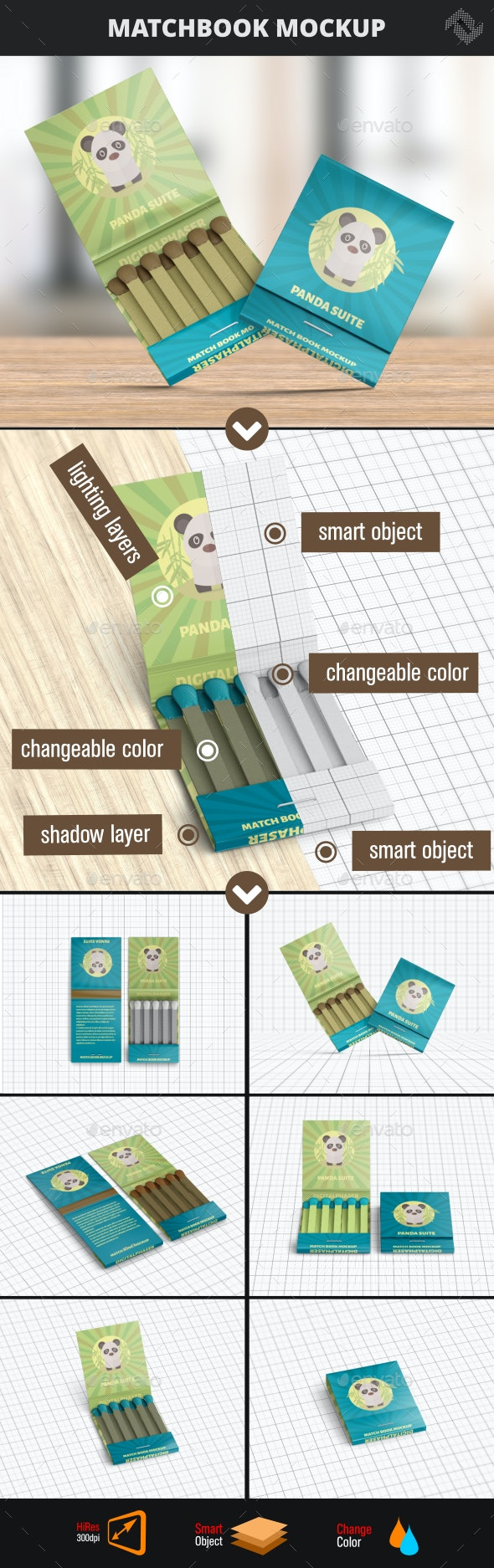 Matchbook Mockup - Product Mock-Ups Graphics
