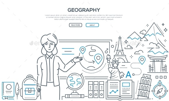Geography Lesson - Colorful Line Design Style - Miscellaneous Conceptual