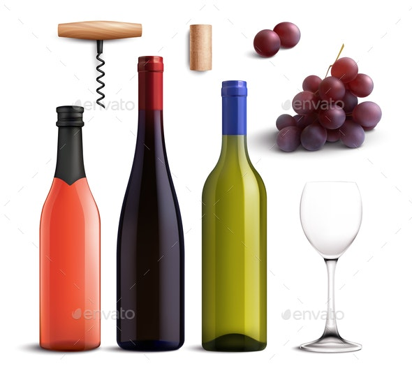 Wine Realistic Set - Food Objects