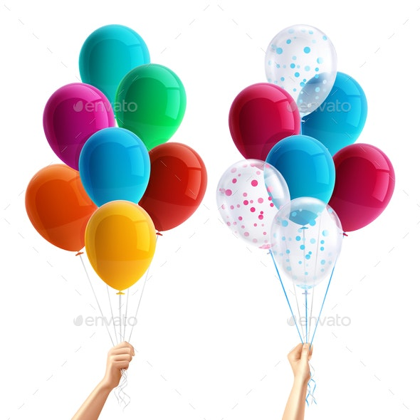 Party Balloons in Hand Composition - Miscellaneous Seasons/Holidays