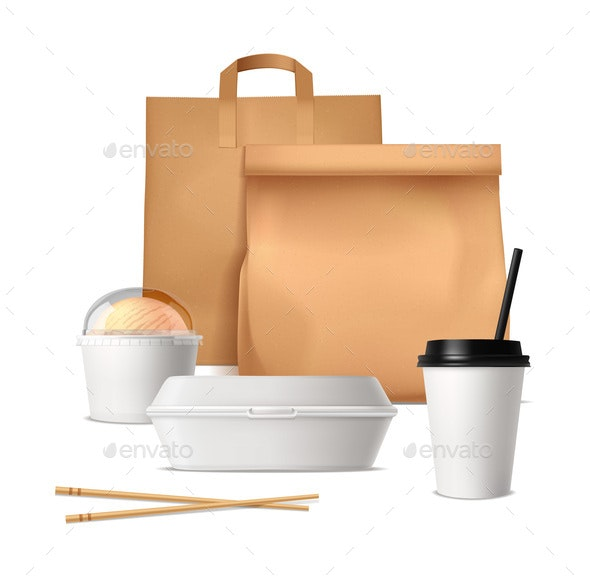 Fast Food Package Realistic Design Concept - Food Objects