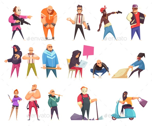 Flat Criminal Characters Set - People Characters
