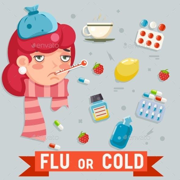 Female Cold Flu Disease Illness Sickness Medicine