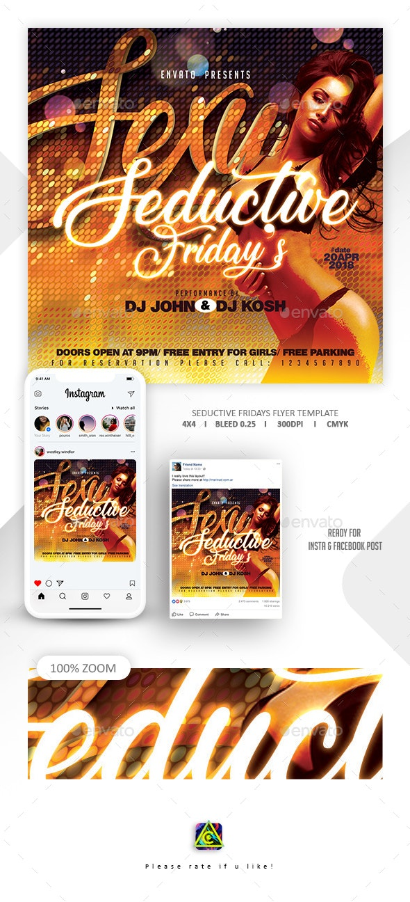 Seductive Fridays Flyer Template - Clubs & Parties Events