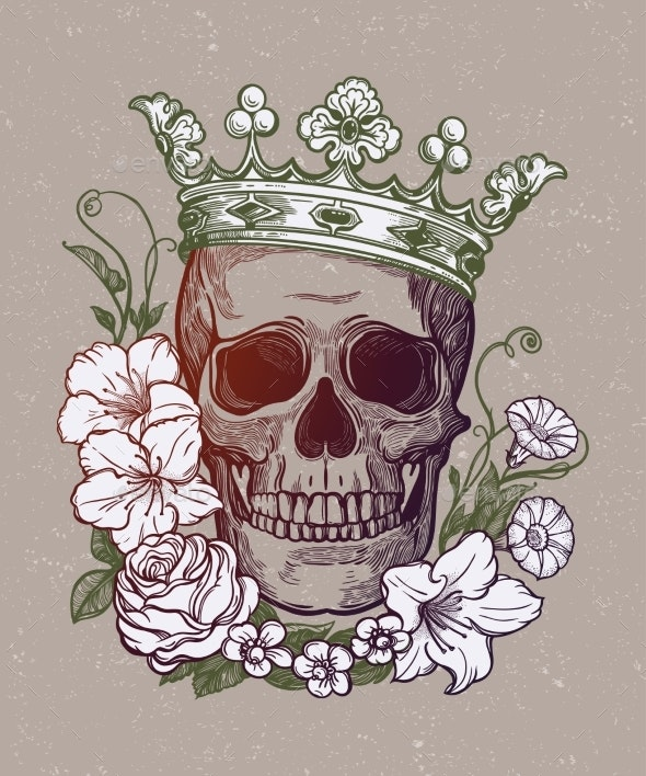 Romantic Skull with Crown - Miscellaneous Characters