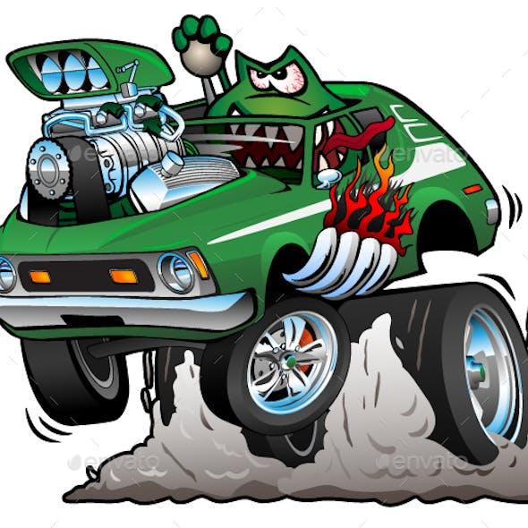 Seventies Green Hot Rod Cartoon Vector Illustration