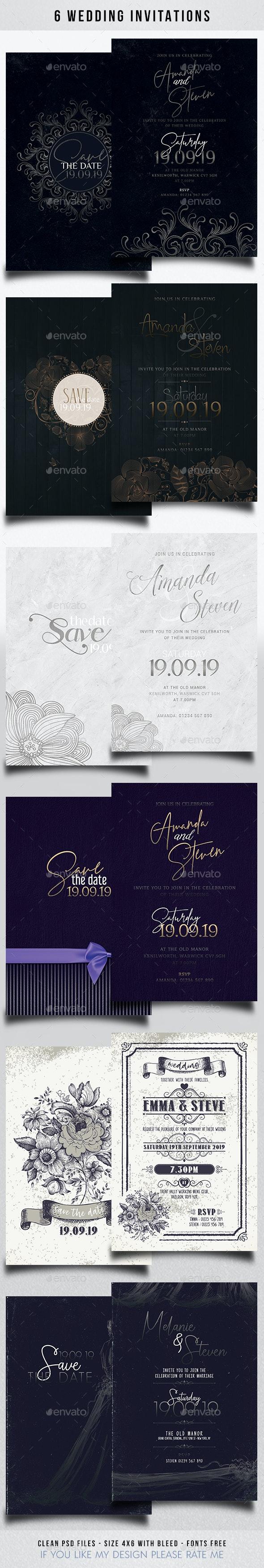 6 Wedding Invitation - Wedding Greeting Cards