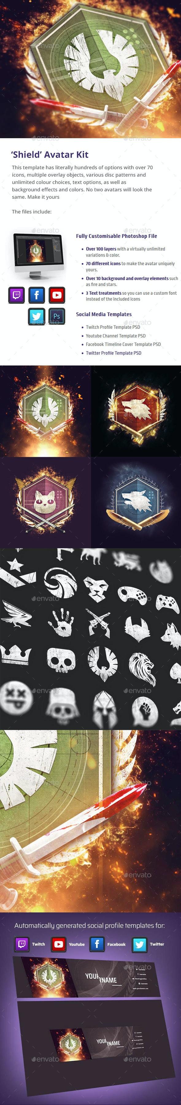 'Shield' Gaming Avatar Kit - Miscellaneous Illustrations