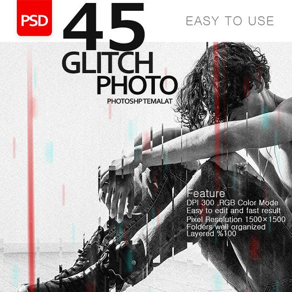 45 Glitch Effect Photo - Photoshop Templates