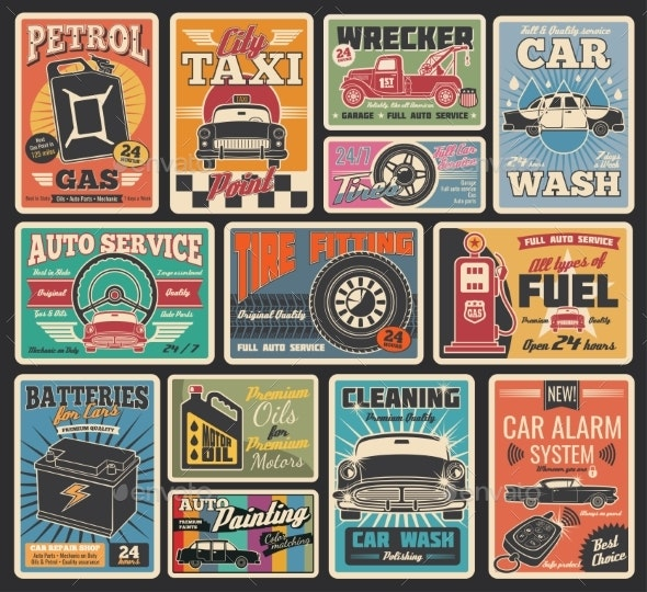 Car Service and Auto Repair Garage Retro Cards - Industries Business