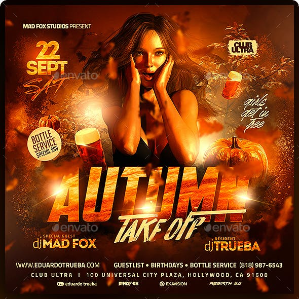Autumn Take Off Party Flyer