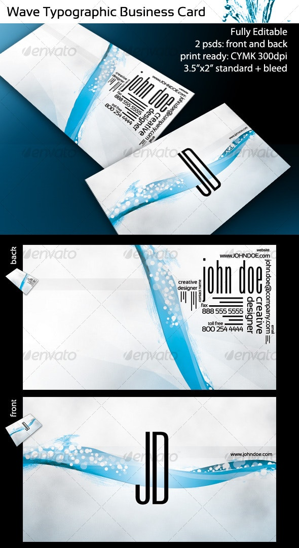 Wave Typographic Business Card - Creative Business Cards