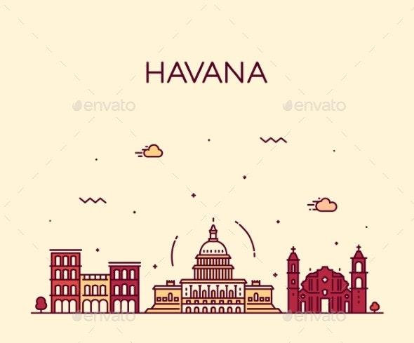Havana City Skyline Cuba Vector Linear Style City - Buildings Objects