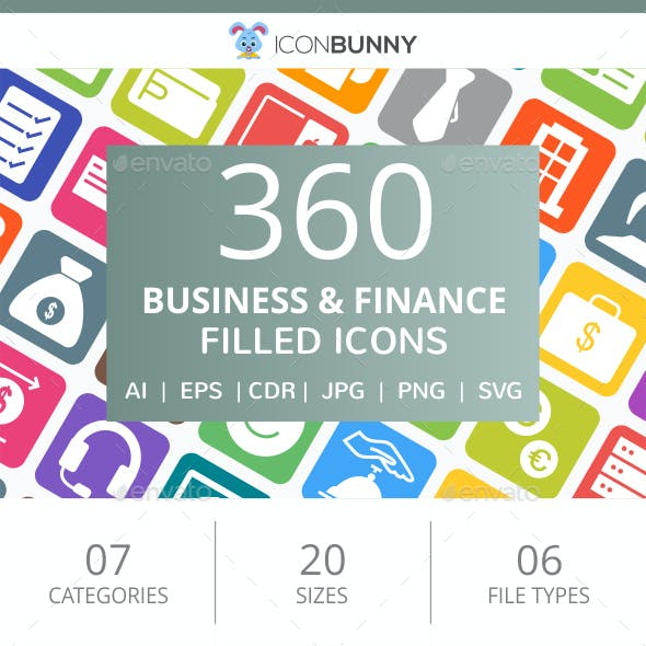 360 Business & Finance Filled Round Corner Icons