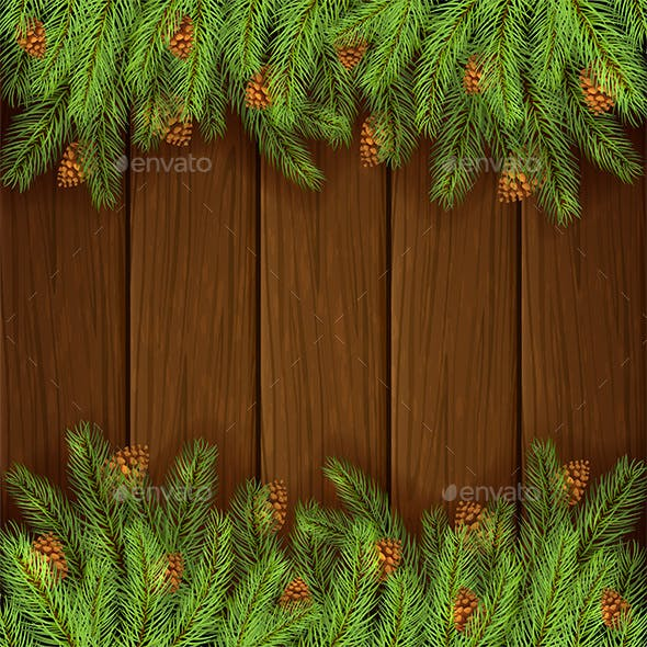 Brown Wooden Background With Fir Tree Branches Christmas Seasons Holidays