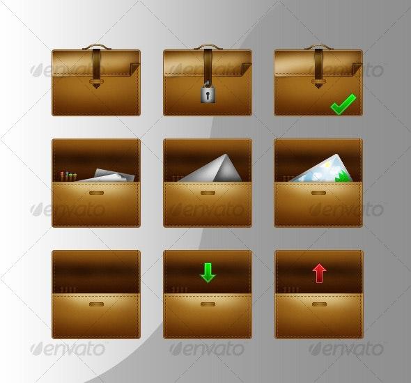 Suitcase Icon Set - Web Icons