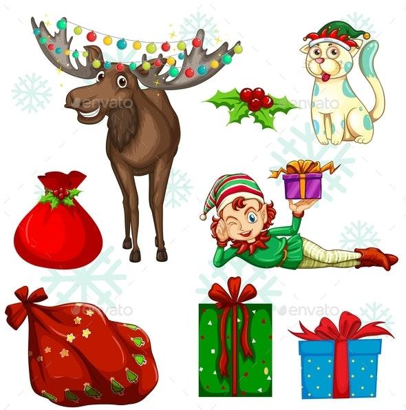 Christmas Set With Reindeer and Presents - Christmas Seasons/Holidays
