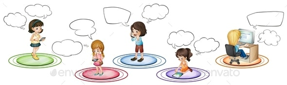 Children Communicate Through Different Devices - People Characters