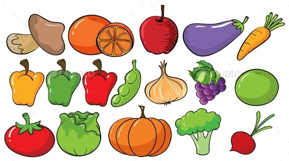 Different Types of Fruits and Vegetables - Food Objects