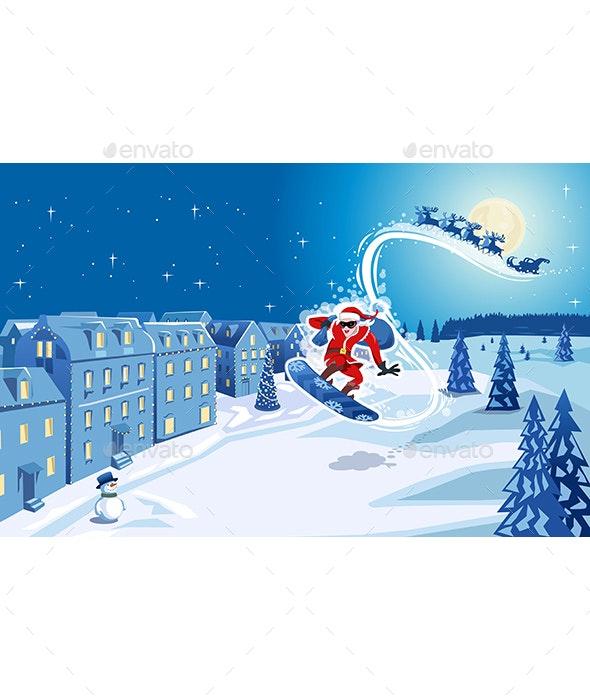 Snowboarding Santa Claus - Sports/Activity Conceptual