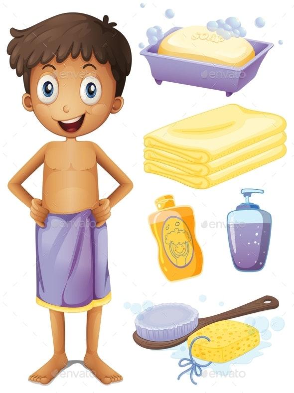 Man in Towel and Bathroom Set - People Characters