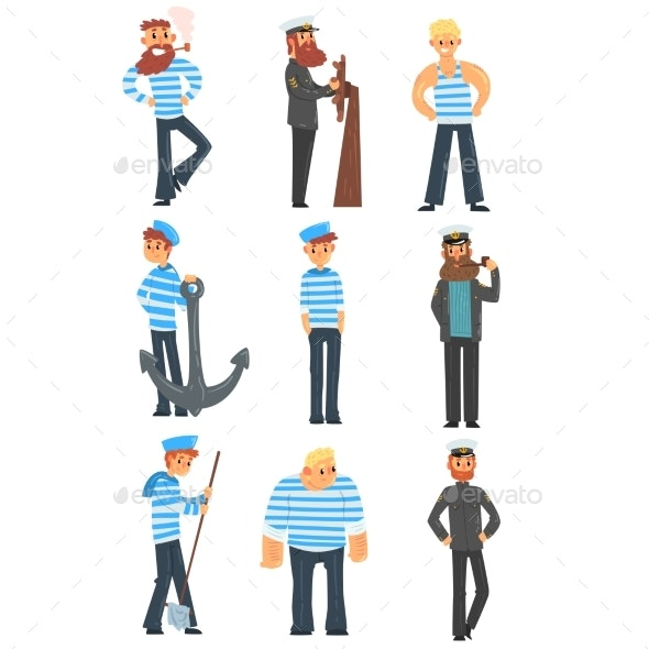 Sailors and Captains Doing Their Job - People Characters