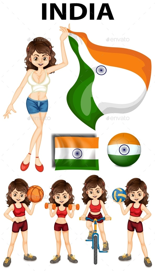 Indian Girl Doing Different Sports - People Characters