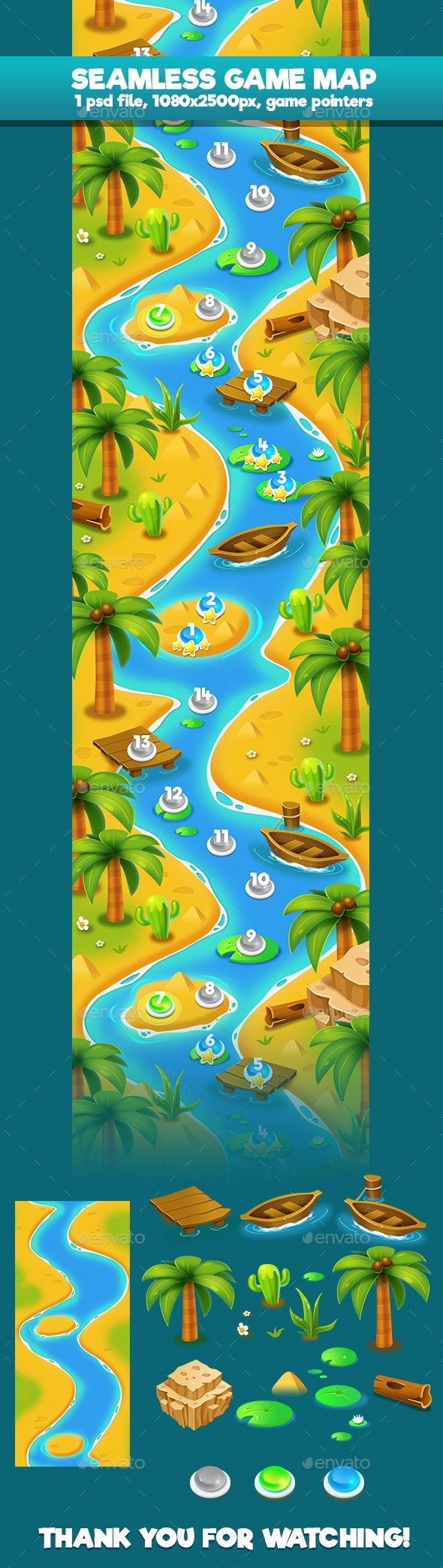 Island Palm Seamless Game Map - Backgrounds Game Assets