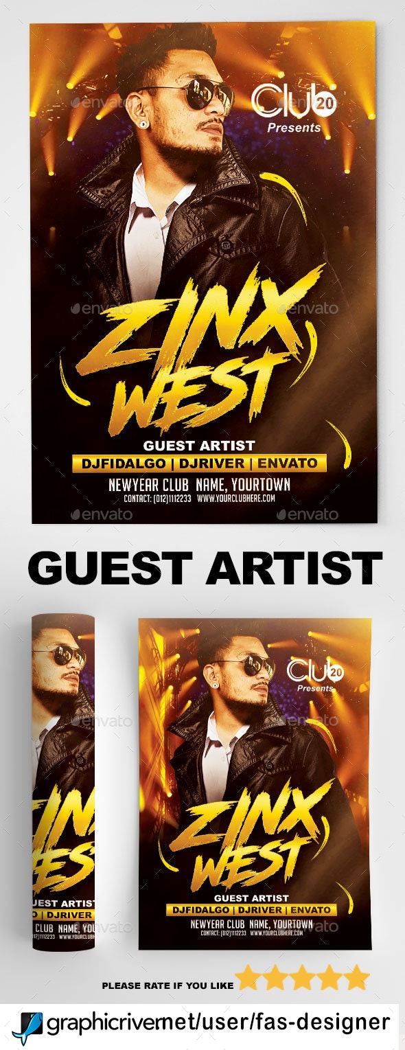 Guest Artist Flyer v7 - Clubs & Parties Events